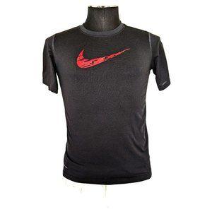 Nike Dri-Fit Black Red Swoosh Logo T-Shirt